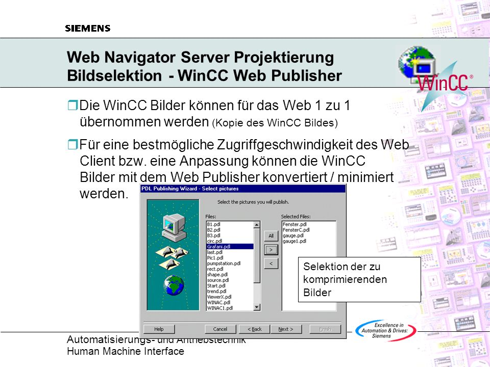 Web Navigator Server Projektierung Bildselektion - WinCC Web Publisher