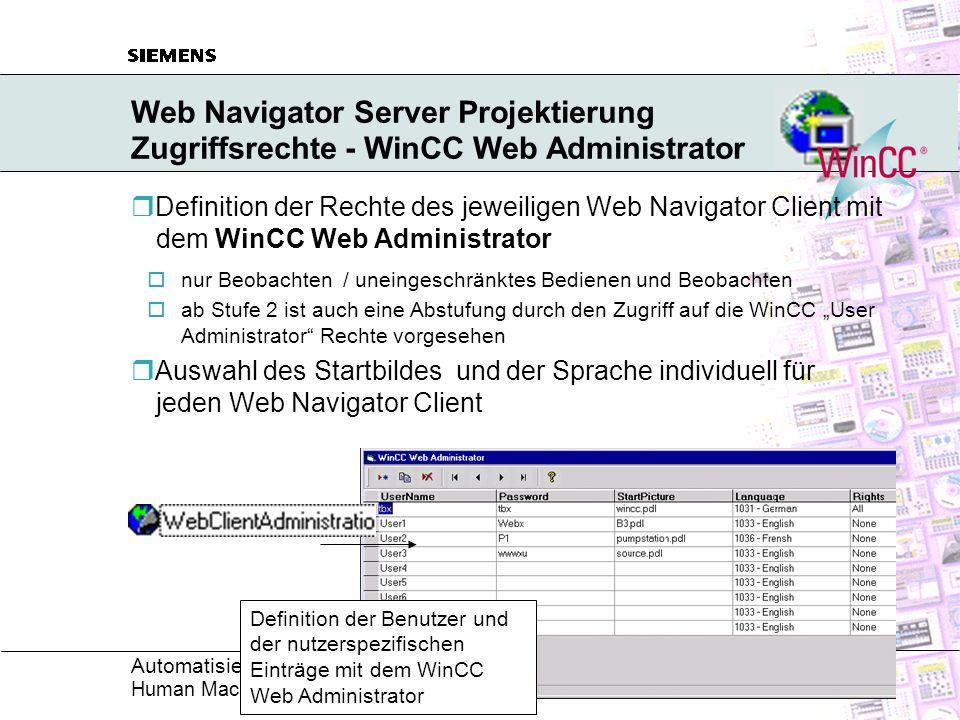 Web Navigator Server Projektierung Zugriffsrechte - WinCC Web Administrator