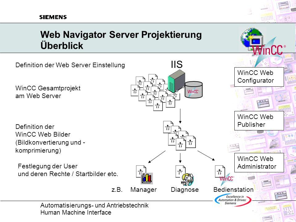 Web Navigator Server Projektierung Überblick