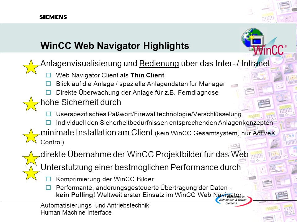 WinCC Web Navigator Highlights
