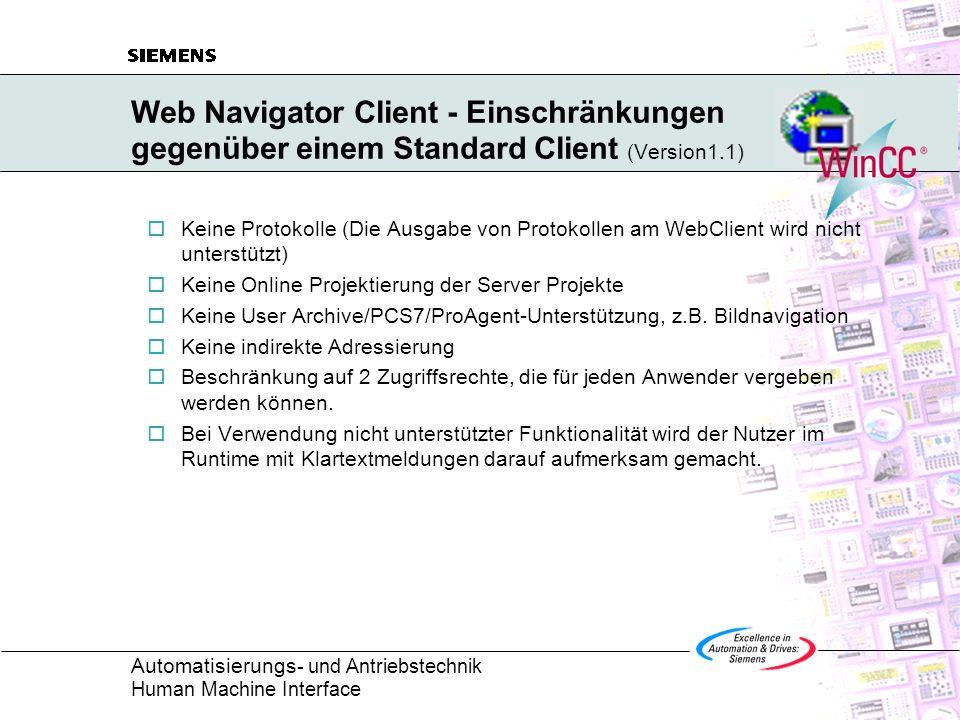 Web Navigator Client - Einschränkungen gegenüber einem Standard Client (Version1.1)