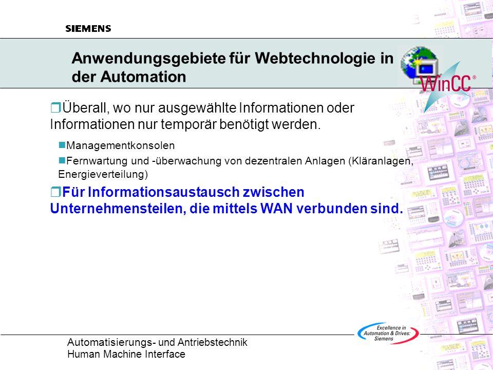 Anwendungsgebiete für Webtechnologie in der Automation