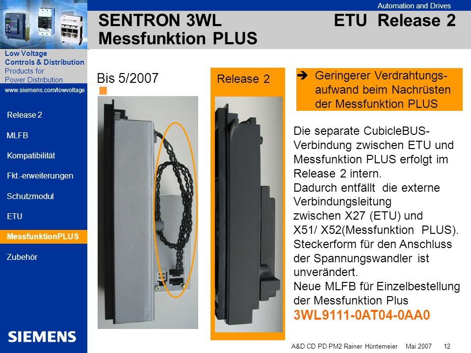 SENTRON 3WL ETU Release 2 Messfunktion PLUS