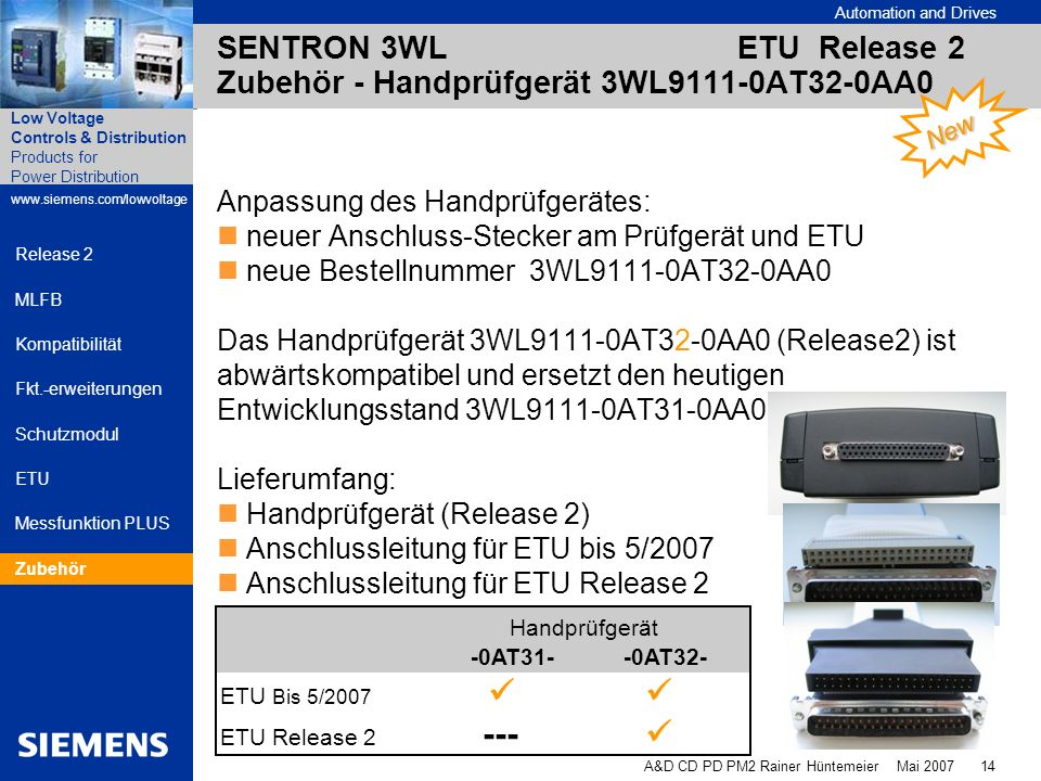 SENTRON 3WL ETU Release 2 Zubehör - Handprüfgerät 3WL9111-0AT32-0AA0