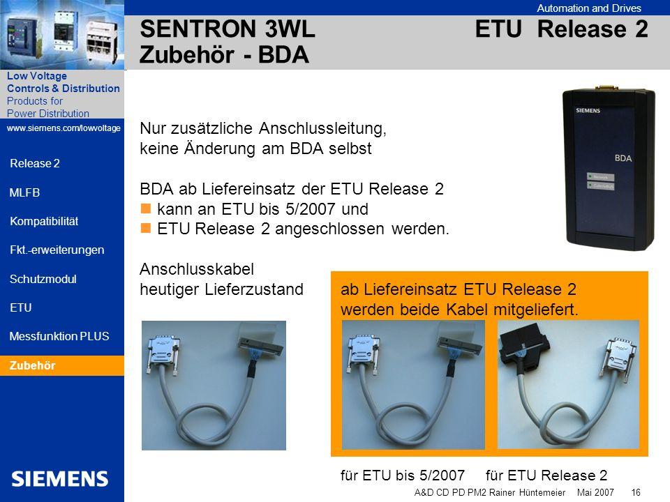 SENTRON 3WL ETU Release 2 Zubehör - BDA