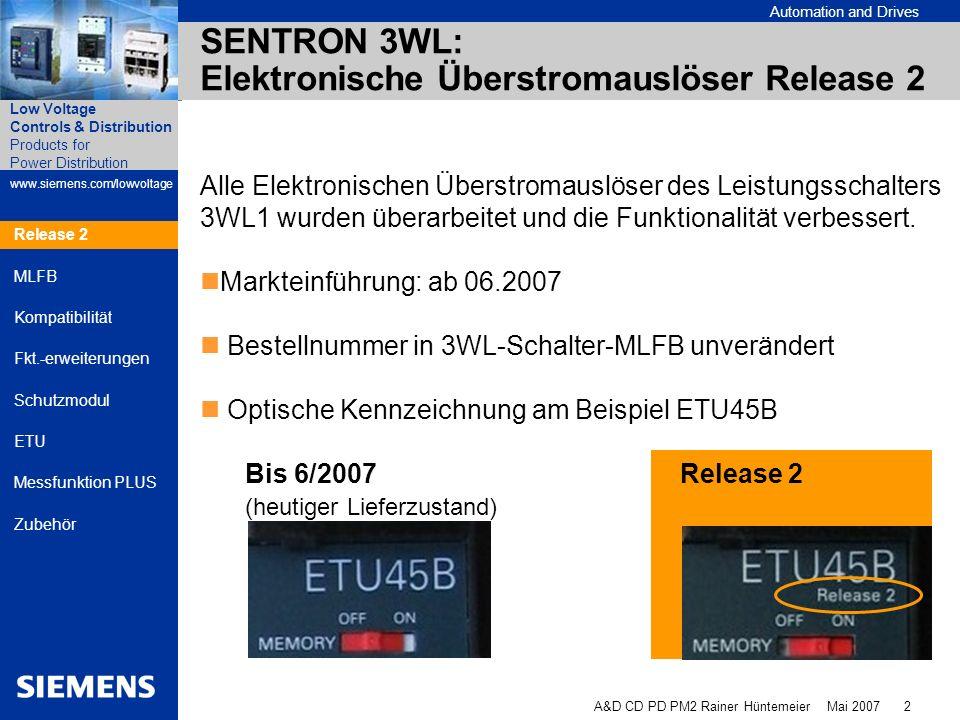 SENTRON 3WL: Elektronische Überstromauslöser Release 2