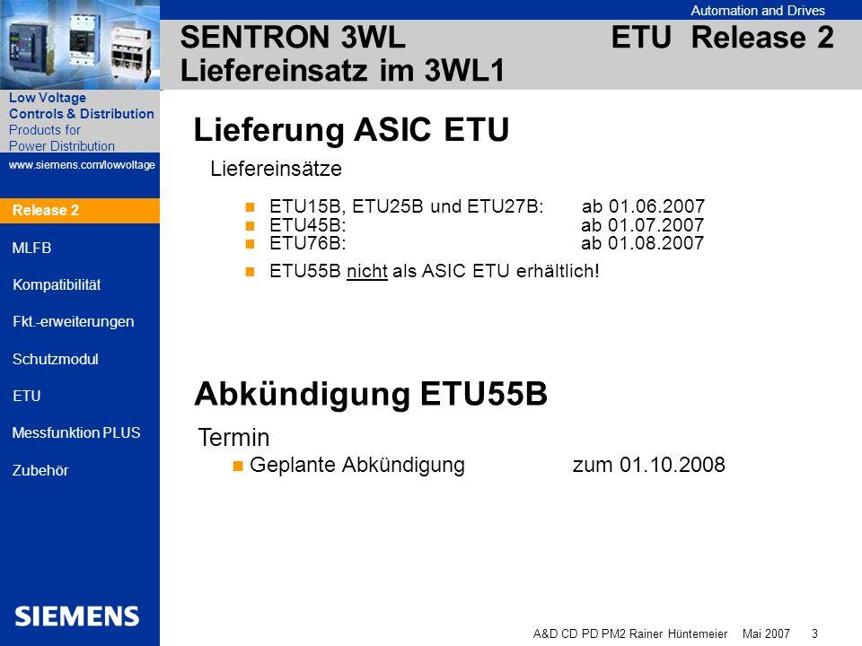 SENTRON 3WL ETU Release 2 Liefereinsatz im 3WL1