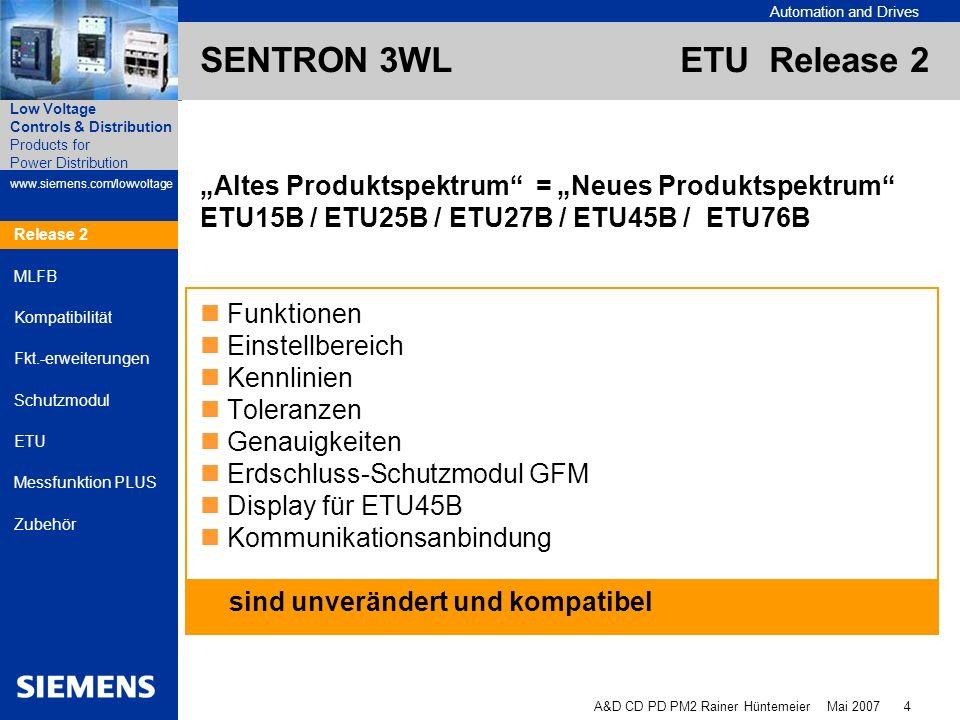 "SENTRON 3WL ETU Release 2 ""Altes Produktspektrum = ""Neues Produktspektrum ETU15B / ETU25B / ETU27B / ETU45B / ETU76B."