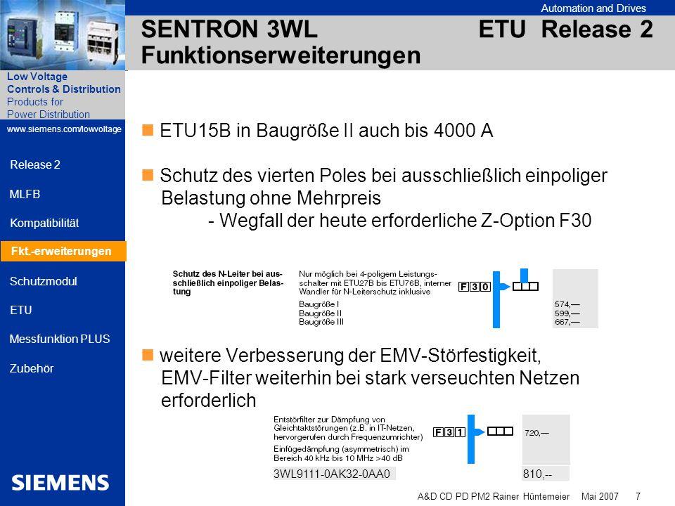 SENTRON 3WL ETU Release 2 Funktionserweiterungen