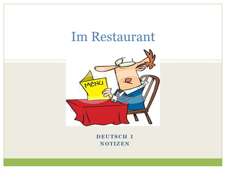 Im Restaurant Deutsch I Notizen