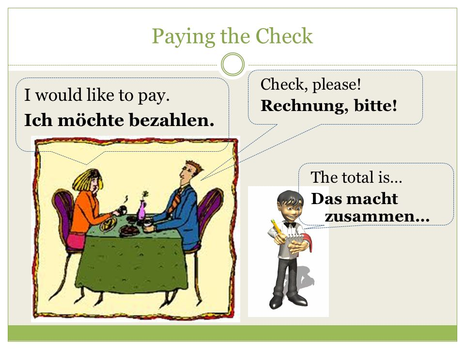 Paying the Check I would like to pay. Ich möchte bezahlen.