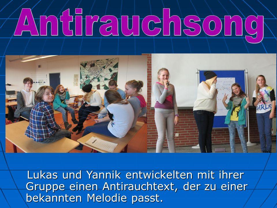Antirauchsong Lukas und Yannik entwickelten mit ihrer Gruppe einen Antirauchtext, der zu einer bekannten Melodie passt.