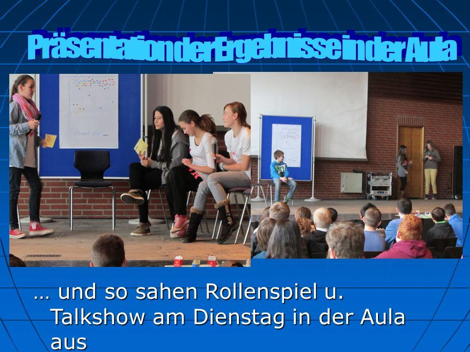 Präsentation der Ergebnisse in der Aula