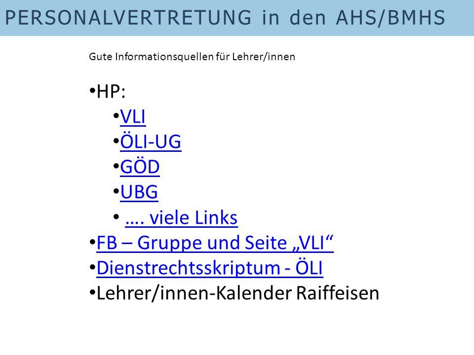 """FB – Gruppe und Seite """"VLI Dienstrechtsskriptum - ÖLI"""