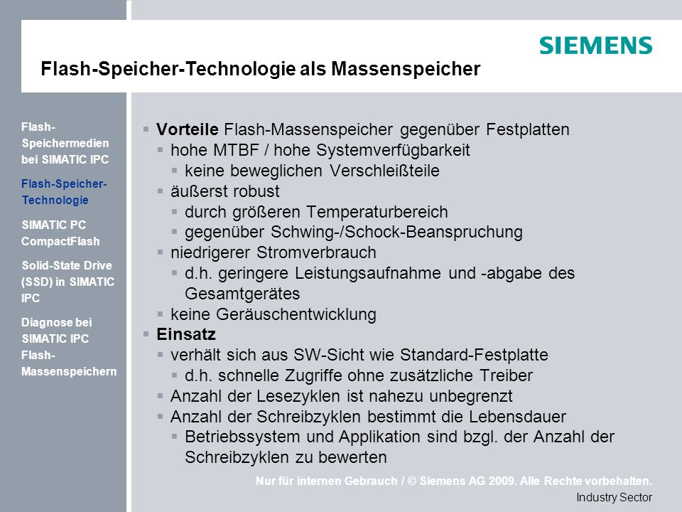 Flash-Speicher-Technologie als Massenspeicher