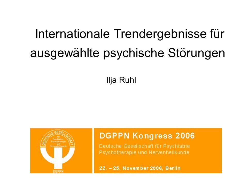 Internationale Trendergebnisse für ausgewählte psychische Störungen