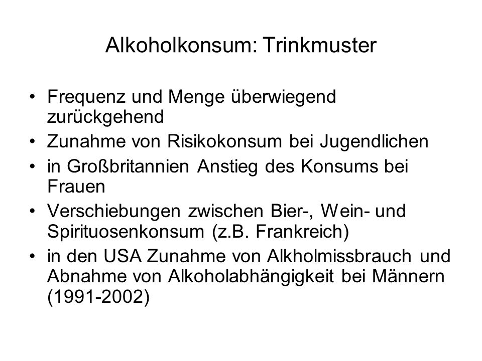 Alkoholkonsum: Trinkmuster