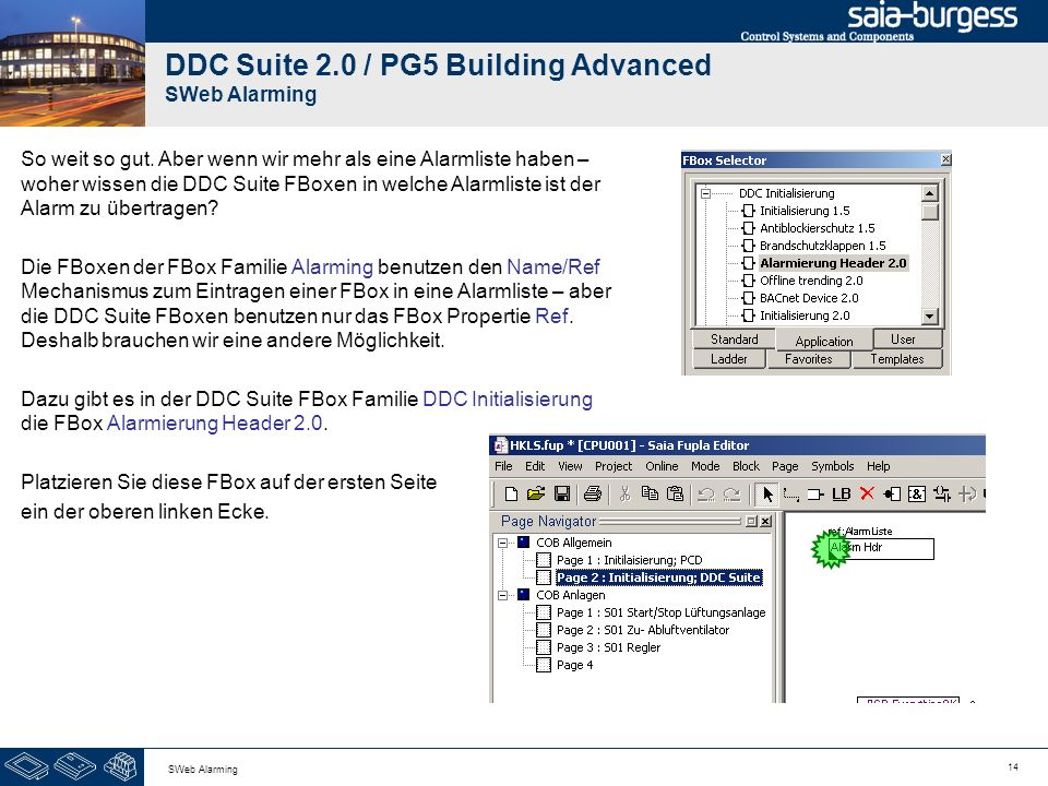DDC Suite 2.0 / PG5 Building Advanced SWeb Alarming