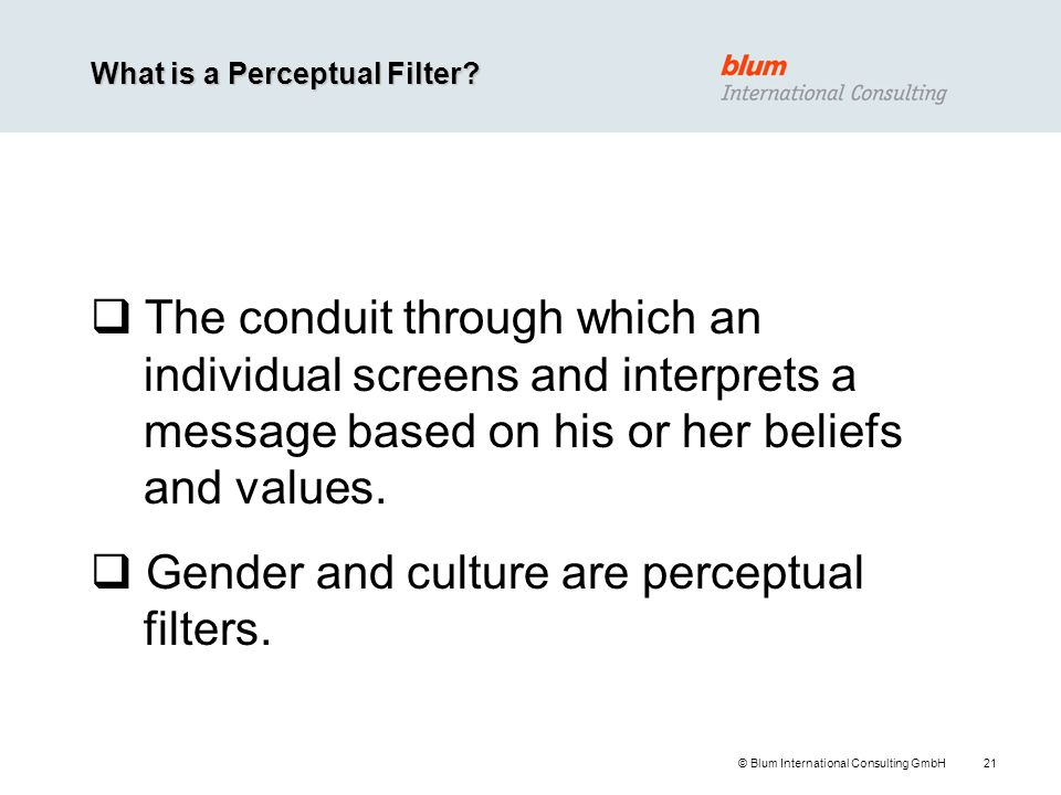 Gender and culture are perceptual filters.