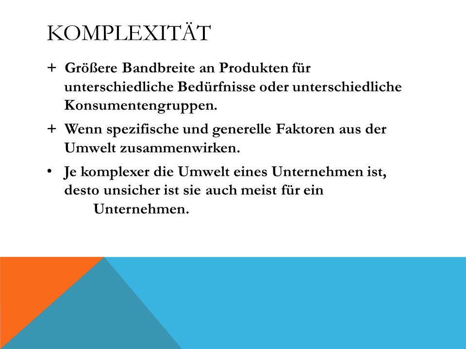 Komplexität + Größere Bandbreite an Produkten für unterschiedliche Bedürfnisse oder unterschiedliche Konsumentengruppen.