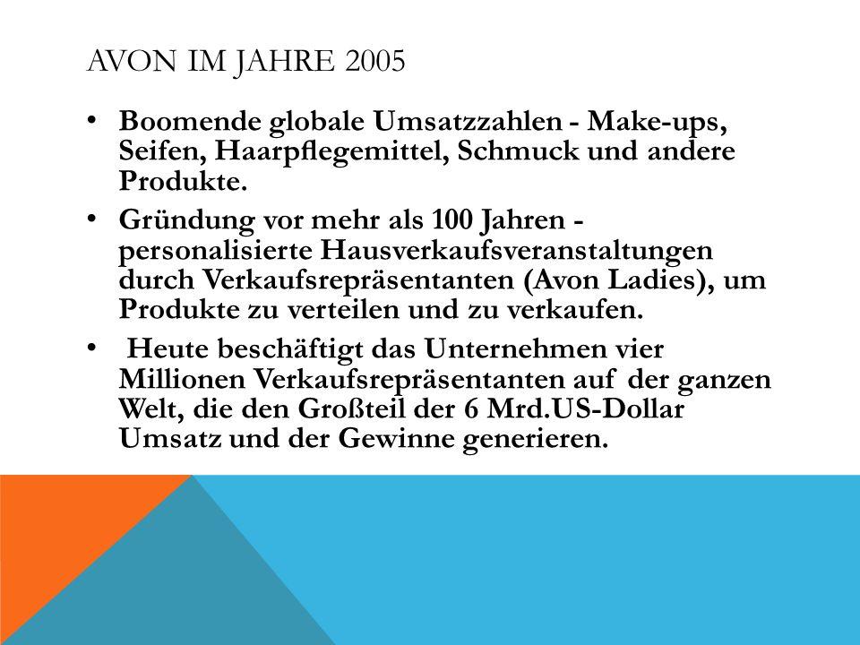Avon im Jahre 2005 Boomende globale Umsatzzahlen - Make-ups, Seifen, Haarpflegemittel, Schmuck und andere Produkte.