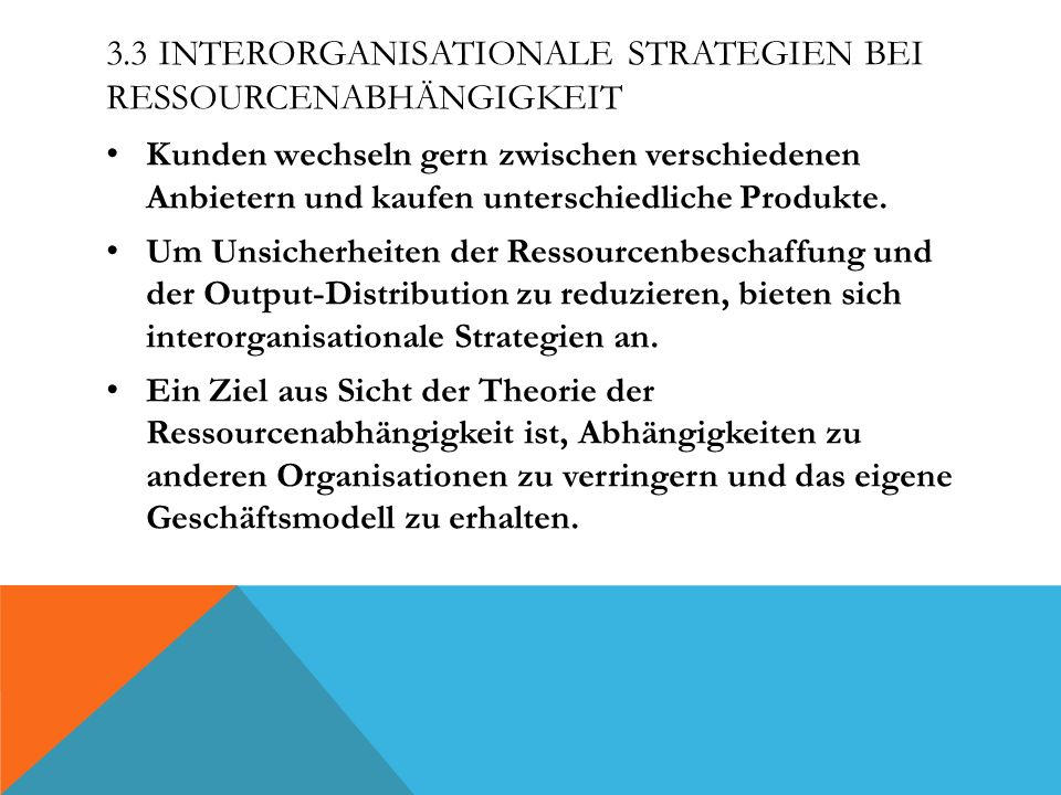 3.3 Interorganisationale Strategien bei Ressourcenabhängigkeit