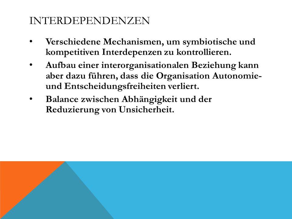 Interdependenzen Verschiedene Mechanismen, um symbiotische und kompetitiven Interdepenzen zu kontrollieren.