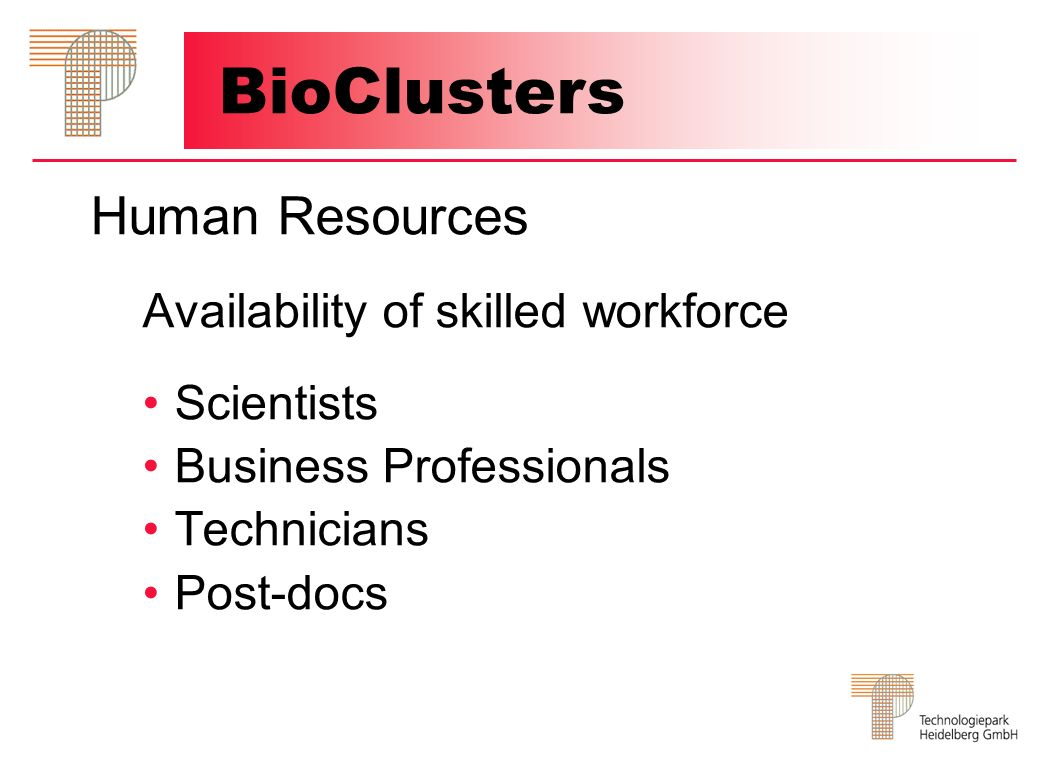 BioClusters Human Resources Availability of skilled workforce
