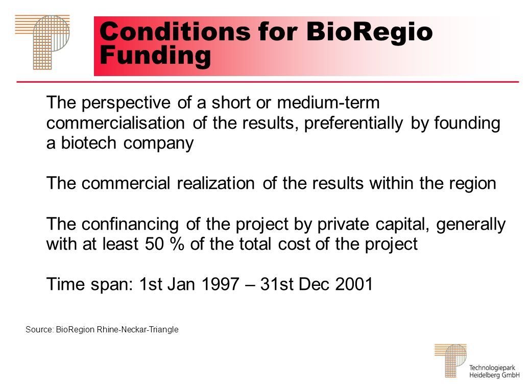 Conditions for BioRegio Funding