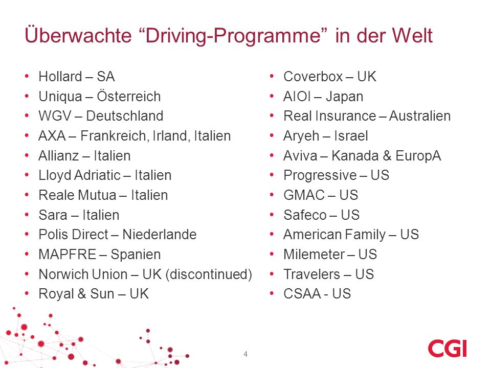 Überwachte Driving-Programme in der Welt