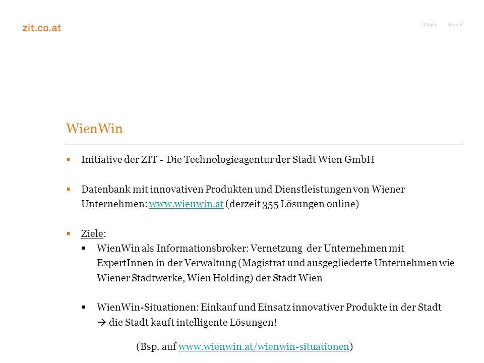 Datum WienWin. Initiative der ZIT - Die Technologieagentur der Stadt Wien GmbH.