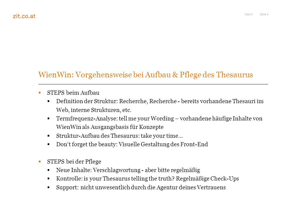 WienWin: Vorgehensweise bei Aufbau & Pflege des Thesaurus