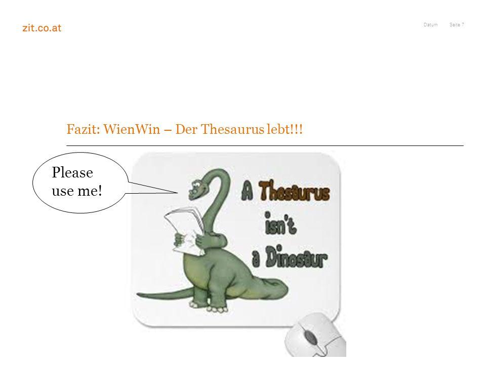 Fazit: WienWin – Der Thesaurus lebt!!!
