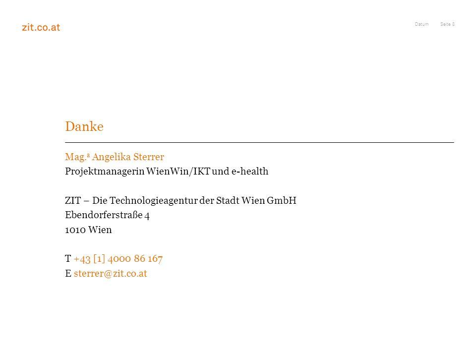 Danke Mag.a Angelika Sterrer Projektmanagerin WienWin/IKT und e-health