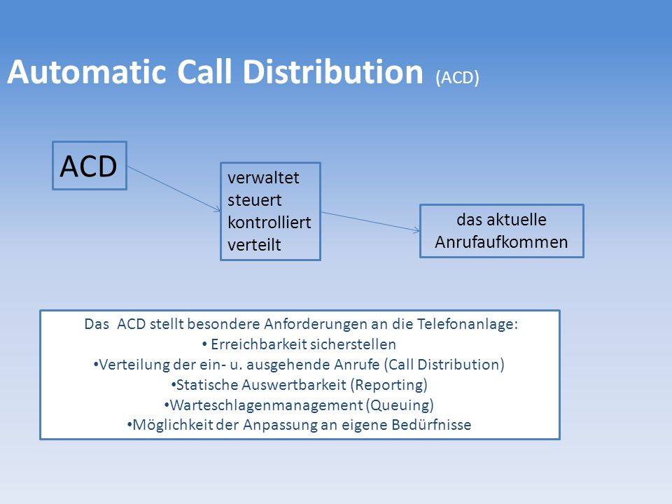 Automatic Call Distribution (ACD)