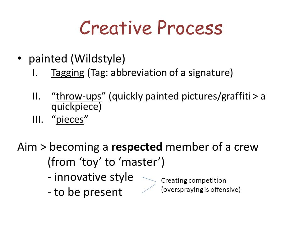 Creative Process painted (Wildstyle)
