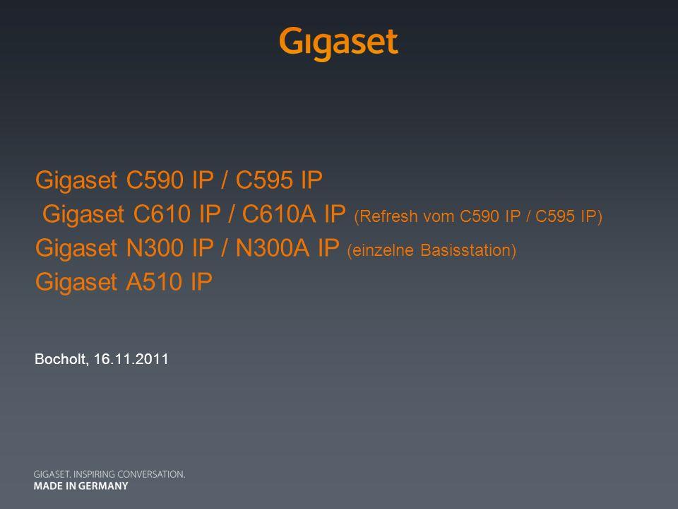 Gigaset C590 IP / C595 IP Gigaset C610 IP / C610A IP (Refresh vom C590 IP / C595 IP) Gigaset N300 IP / N300A IP (einzelne Basisstation) Gigaset A510 IP