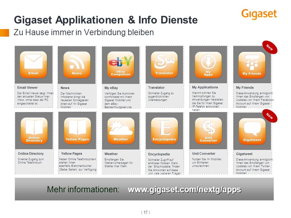 Mehr informationen: www.gigaset.com/nextg/apps