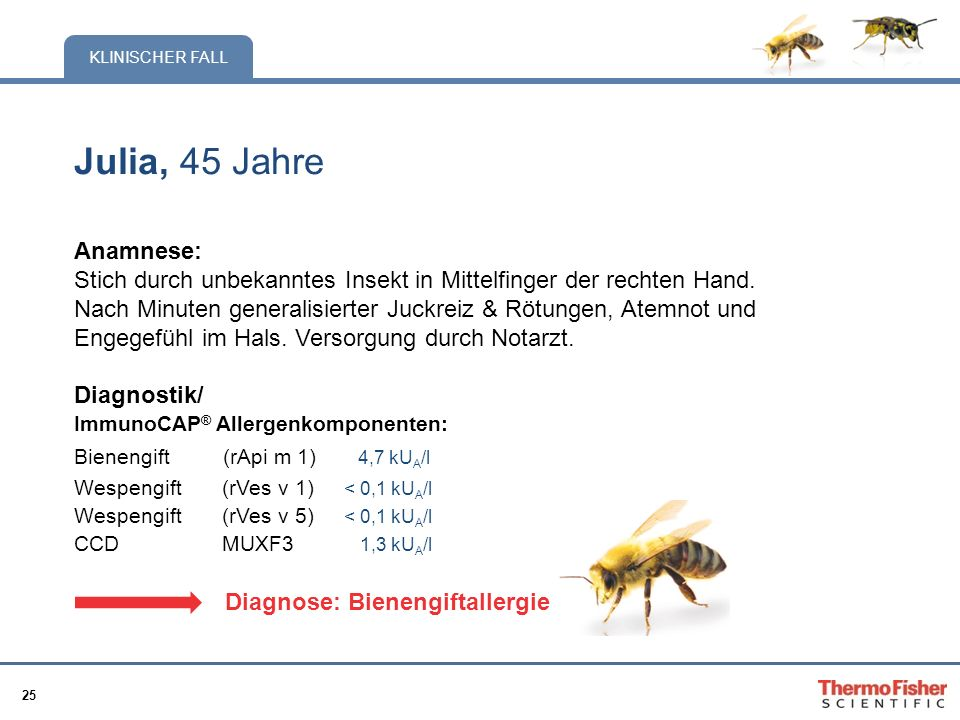 Julia, 45 Jahre Anamnese: Stich durch unbekanntes Insekt in Mittelfinger der rechten Hand.