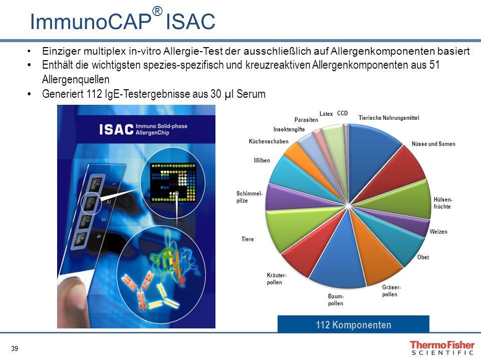 ImmunoCAP® ISAC Einziger multiplex in-vitro Allergie-Test der ausschließlich auf Allergenkomponenten basiert.