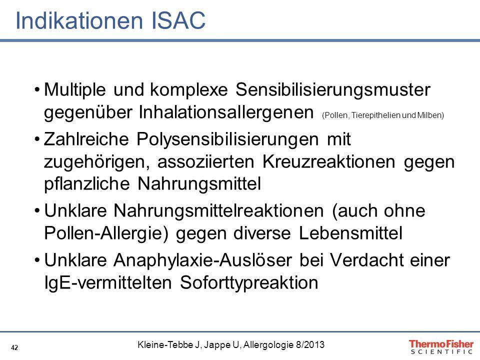 Indikationen ISAC Multiple und komplexe Sensibilisierungsmuster gegenüber Inhalationsallergenen (Pollen, Tierepithelien und Milben)