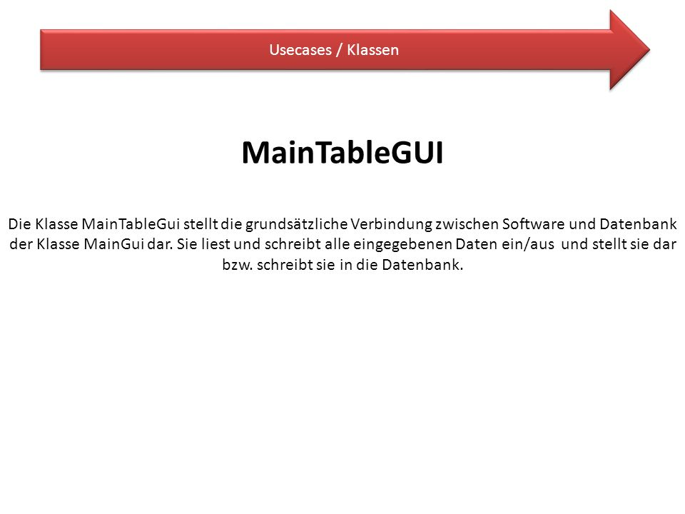MainTableGUI Usecases / Klassen