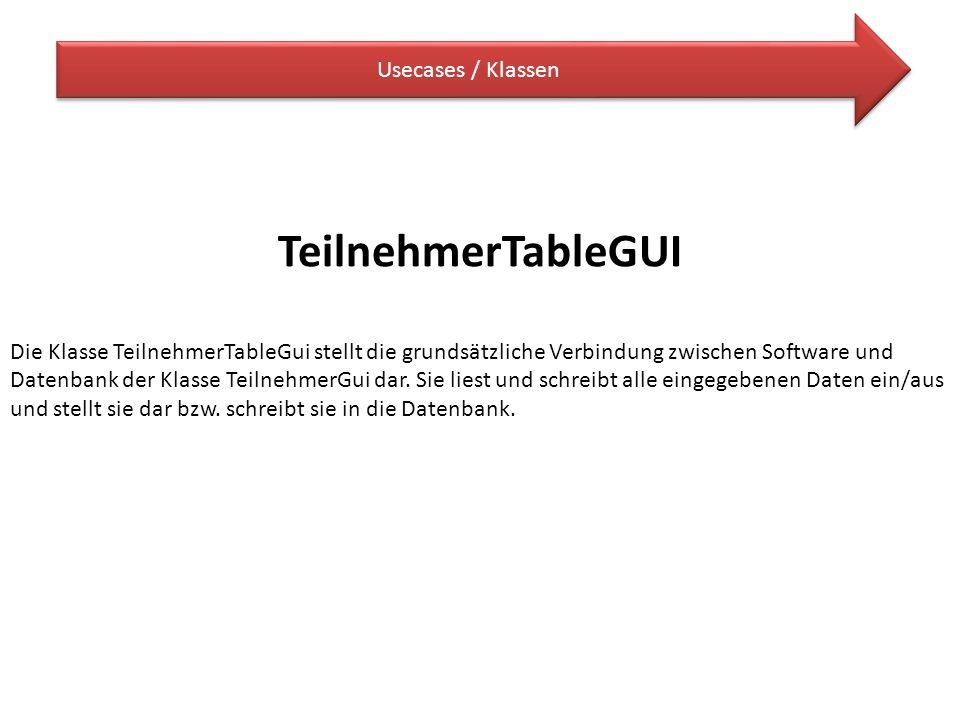 TeilnehmerTableGUI Usecases / Klassen