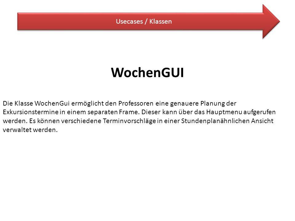 WochenGUI Usecases / Klassen