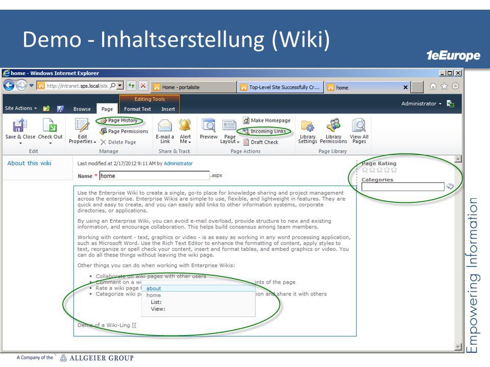 Demo - Inhaltserstellung (Wiki)