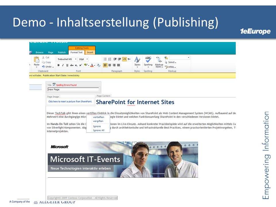 Demo - Inhaltserstellung (Publishing)