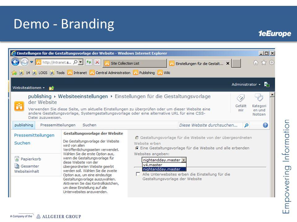 Demo - Branding Theme wechseln MasterPage Wechseln