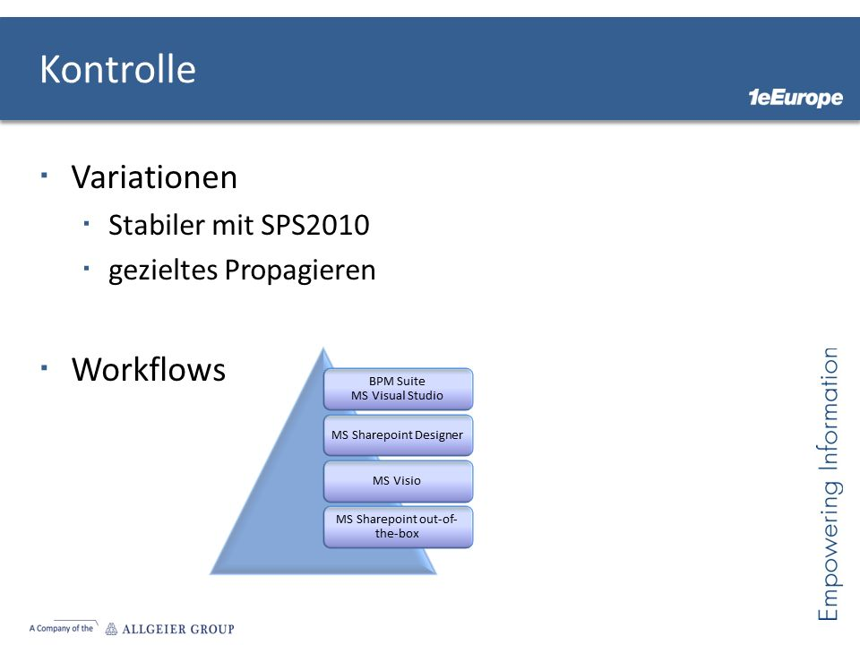 Kontrolle Variationen Workflows Stabiler mit SPS2010