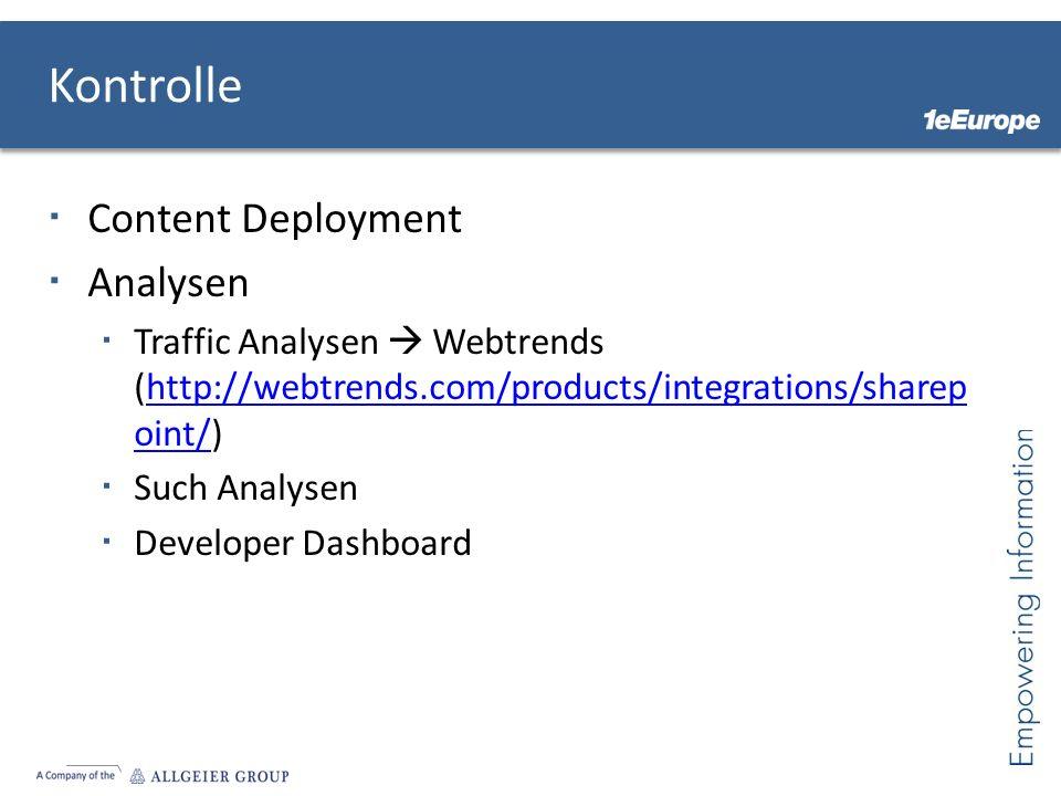 Kontrolle Content Deployment Analysen