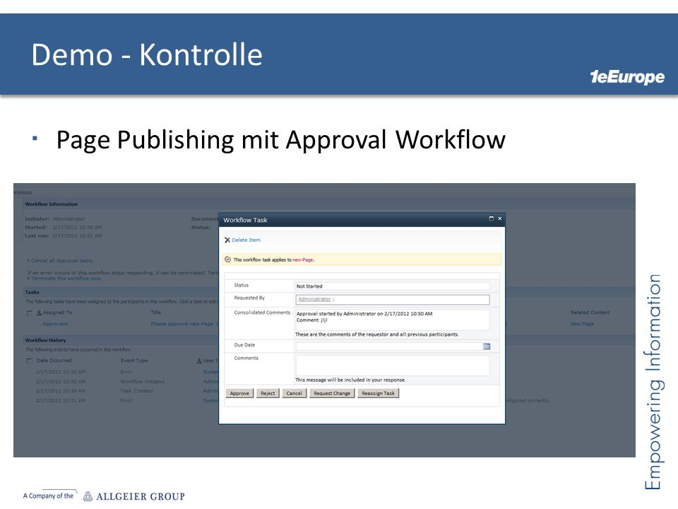 Demo - Kontrolle Page Publishing mit Approval Workflow